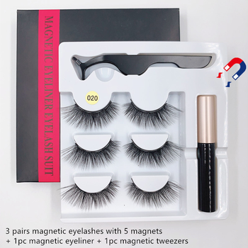 3 pairs 3d lashes  natural long false eyelashes magnetic eyelashes, magnetic tweezers, magnetic eyeliner set eyelash extension