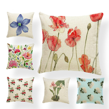 Beautiful Plant Cushion Set Flower Rose Orchid Daffodil Living Room Bedroom Decoration Pillowcase Polyester Linen Custom Pillow