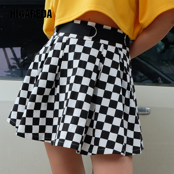 Checkerboard Pleated Skirt Mini High Waist Preppy Style Casual Fashion Patchwork Belt Side Split Skirts Women Woven self belt ruffle waist high split skirt