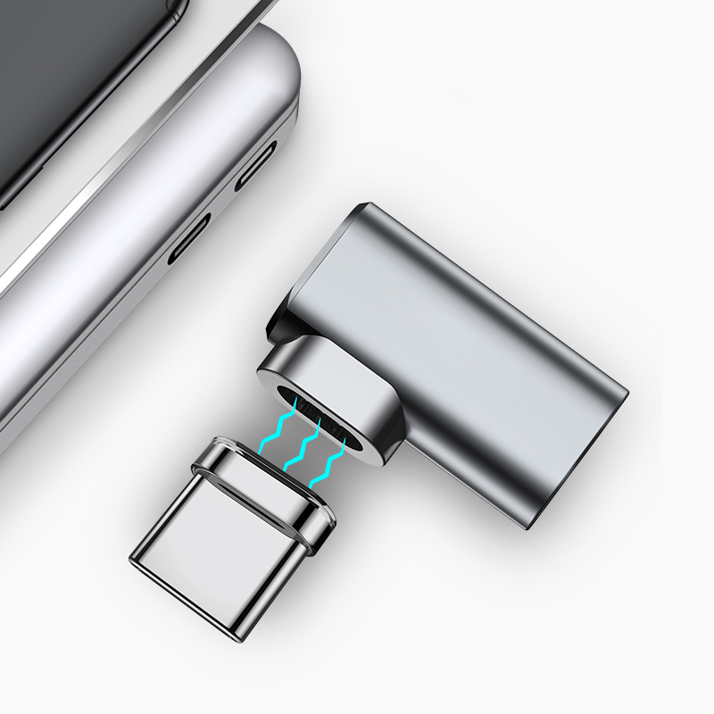 90 Degree Magnetic USB C Adapter For Huawei Samsung Xiaomi 87W 4.3A Elbow USB Type C Game Charge Connector For MacBook Pro