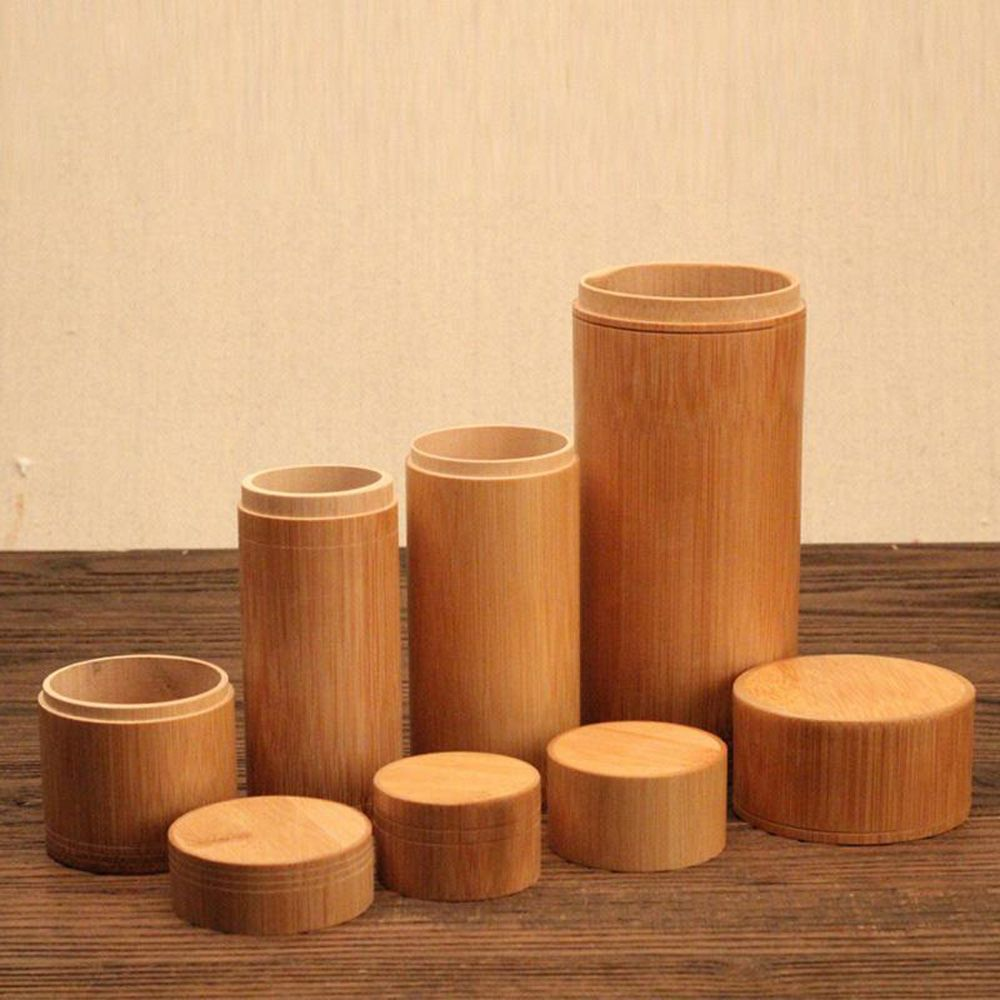 Handmade Tea Box Bamboo Storage Box Tea Canister Lid Seal Kitchen Storage Jars Accessories Spice Box Case Organizer