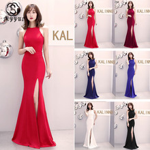 Skyyue Evening Dress Hollow Sleeveless Robe De Soiree Split Women Party Dresses 2019 Solid O-neck Formal Gowns C080-DS1