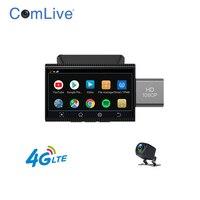 Minicámara de salpicadero 4G, 3 pulgadas, monitor de Móvil a distancia, cámaras duales, navegación GPS, WIFI, grabadora de vídeo de coche, tarjeta de 128G