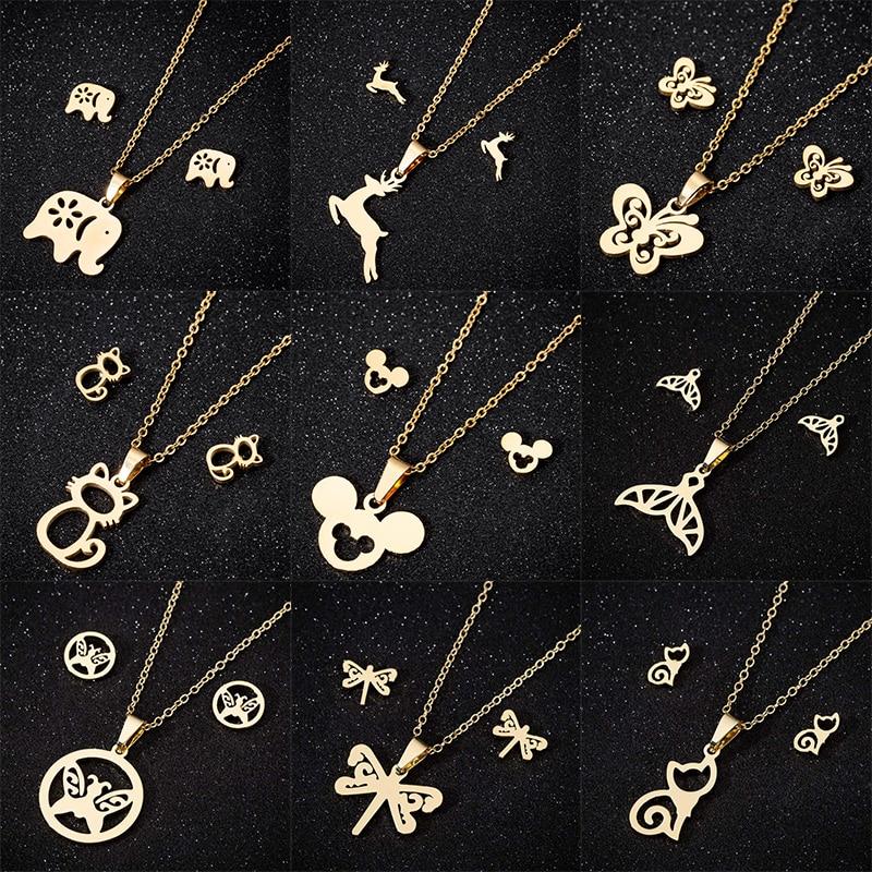 FENGLI, романтическое ожерелье в виде животного, набор для женщин, слон, Микки, кот, серьги гвоздики в виде оленя, Бабочка, Кит, хвост, ювелирный набор, подарок для женщин|Ювелирные наборы|   | АлиЭкспресс