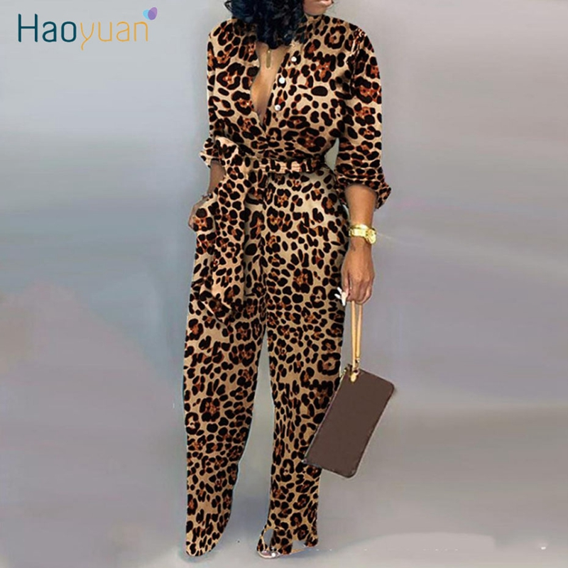 HAOYUAN Sexy Leopard Long Sleeve Jumpsuit 2020 Fashion Body Rave Cheetah Print One Piece Overalls Rompers Womens Jumpsuit