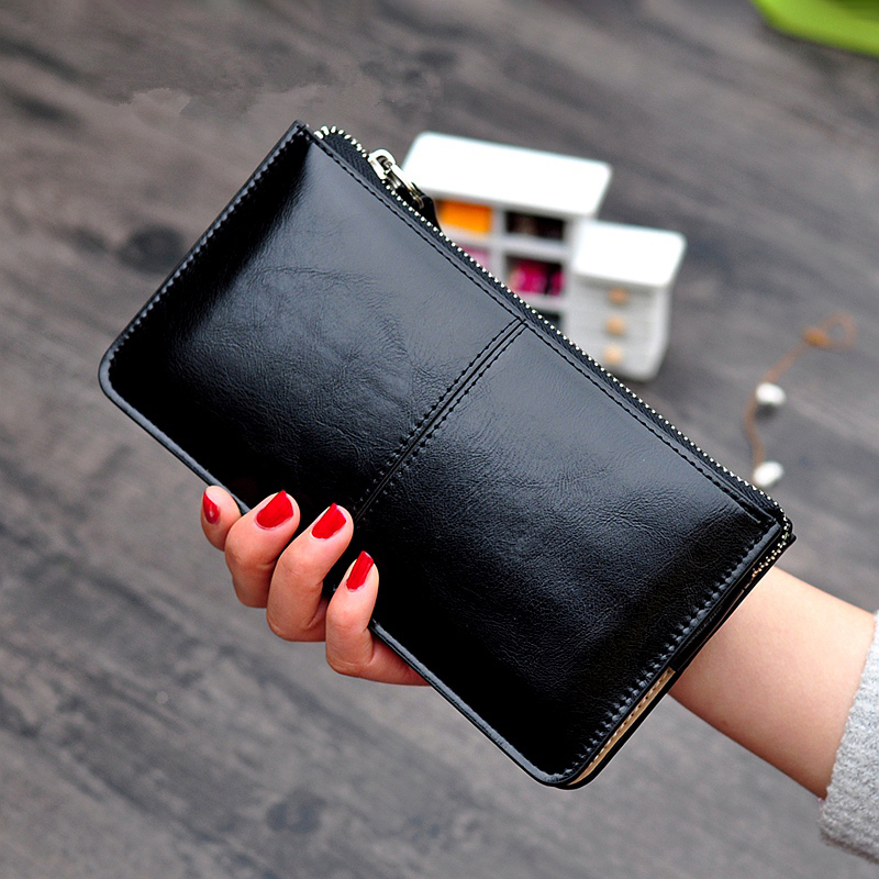 Women's Vintage Oil Wax Leather Zipper Clutch Wallet Female Large Capacity Coin Purse Ladies Wristband Simple Card Holder Wallet