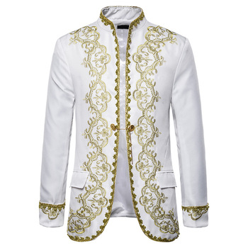 Men White Embroidery Court Prince Suit