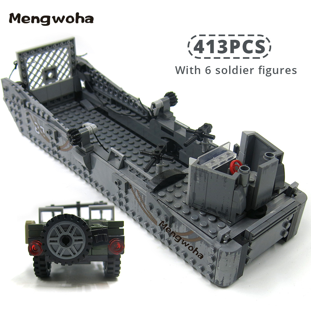 Image 2 - 413pcs WW2 Army Building Blocks USA LCM3 Landing Ship Military Battleship bricks With 6 soldier figures model Toys for childrenBlocks   -