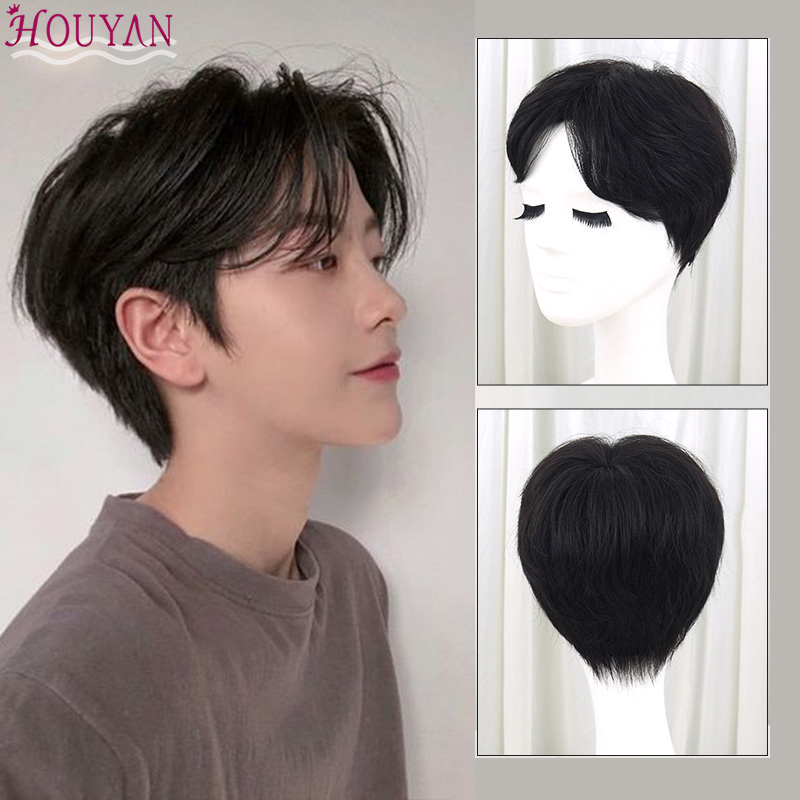 HOUYANShort Wave Synthetic Men's Breathable Wig Dark Brown 100% Very Realistic Hair Wig With Heat Resistant Stripes On The Middl