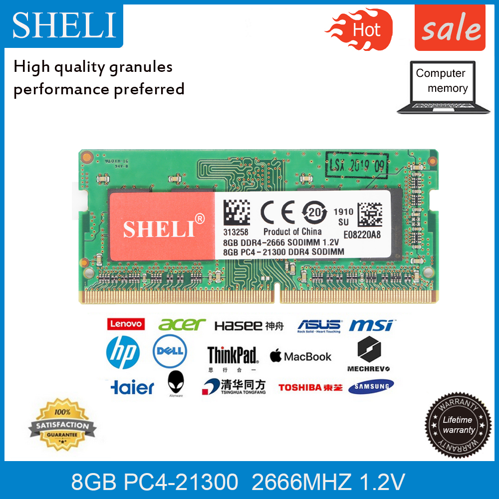 Mémoire d'ordinateur portable SHELI 8GB PC4-21300 DDR4 2666MHZ 1.2V RAM SODIMM
