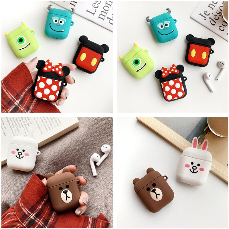 Cute Cartoon <font><b>Apple</b></font> <font><b>AirPods</b></font> Headset Protecting Cover Silica Gel Phone Case Charging Case Anti-loss Day South Korea Applicable image