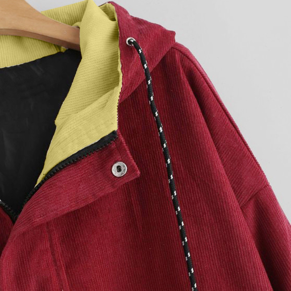 Women color block Long Sleeve Corduroy Women jackets Patchwork Autumn women Jackets plus size women button Women color block Long Sleeve Corduroy Women jackets Patchwork Autumn women Jackets plus size women button female coat FC