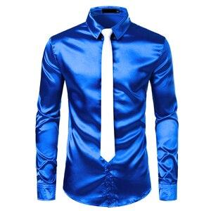 Image 3 - 2pcs כסף משי חולצה + עניבת Mens סאטן חלק טוקסידו חולצות מקרית לחצן למטה גברים שמלת חולצות מסיבת חתונה נשף תחתונית Homme