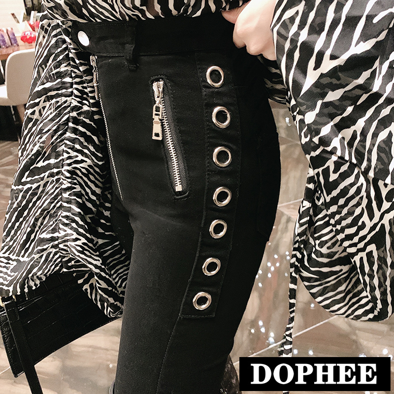 High Waist Slim Jeans Leggings Women 2020 Spring New Skinny Metal Tight Stretch Black Pencil Pants Trousers Lady