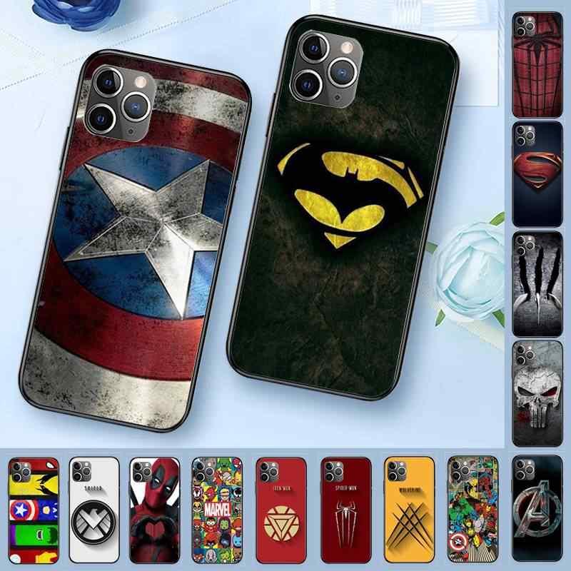 Marvel superman veneno escudo spiderman logotipo capa de telefone de luxo para iphone 11 pro xs max 8 7 6 s plus x 5 5S se xr caso maiya
