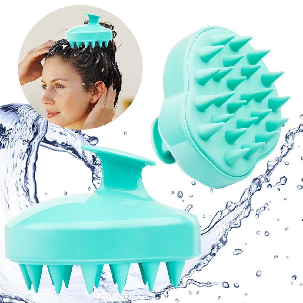 YBLNTEK Handheld Silicone Scalp Shampoo Massage Brush Washing Shower Hair Comb Mini Head Meridian Massage Comb Wide Tooth