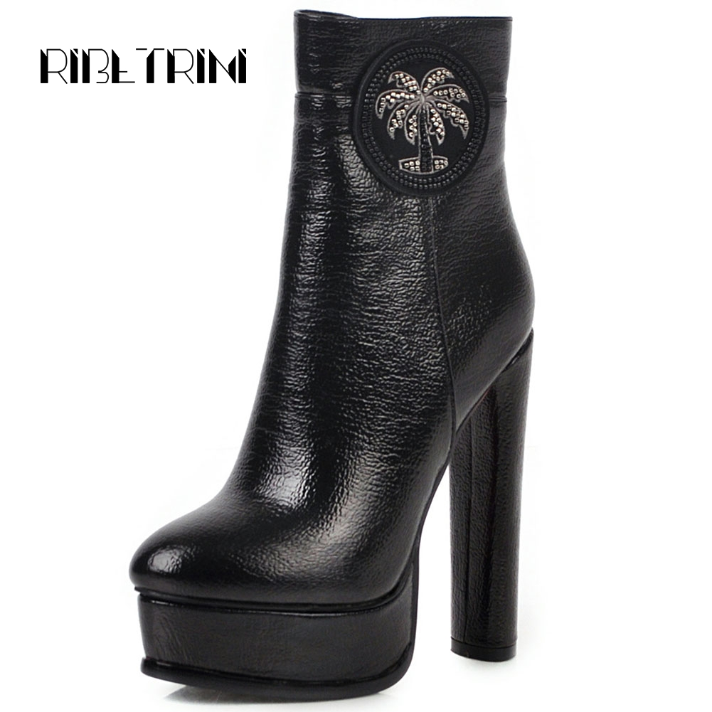 Ritrahini mode strass fleur Chunky talons hauts bout rond plate-forme haut bottines pour femmes automne hiver chaussures