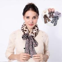 Ladies Scarves Shawl Faux-Rabbit-Fur-Collar Leopard Girls Wholesale Wrap Plush-Silk Elegant