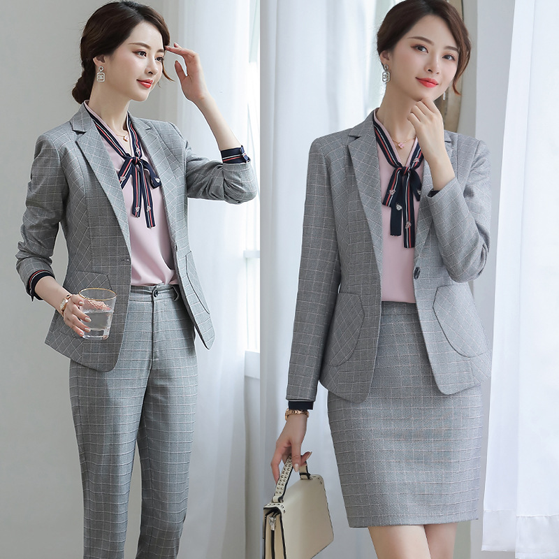 Gray Plaid Skirt Suit Dress Blazer