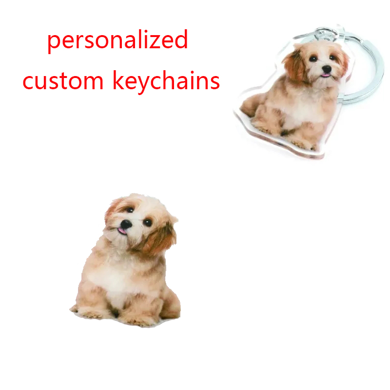 Personalized Pet Dog Person Photo Keychains Customized Acrylic Keyrings For Women Men Fashion Jewelry Memorial Christmas Gift