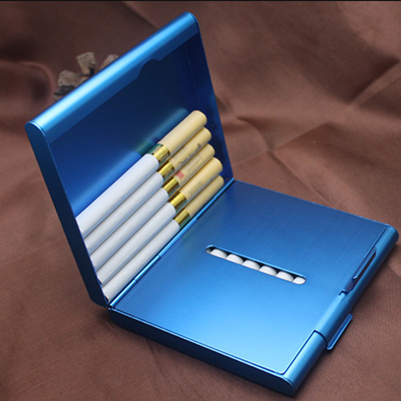 1Pcs Cigarette Case Smoking Accessories Metal Men Gift Tobacco Holder Pocket Box 9.2*8.2*2CM Cigar Storage Container
