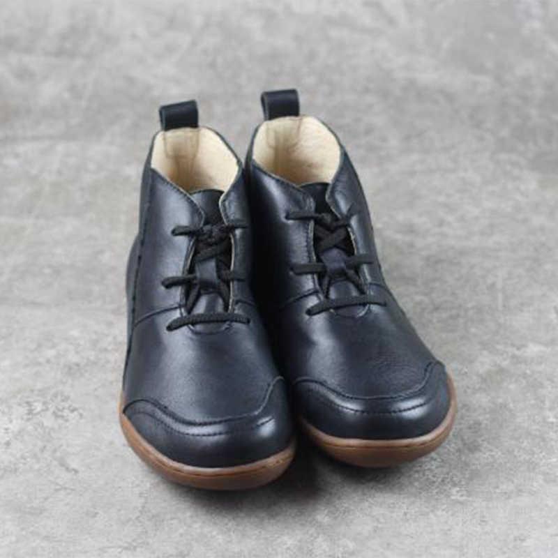 Kadın kışlık botlar hakiki deri rahat yarım çizmeler rahat kaliteli yumuşak el yapımı düz ayakkabı coco brown botları 2019 kış