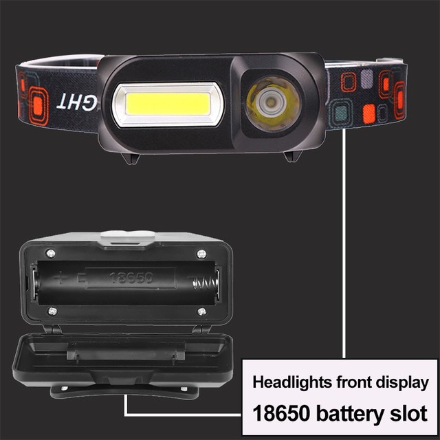 LED Headlamp Q5+COB Double switch Portable mini heading light 3 modes built-in USB Rechargeable battery headlight night fishing 4