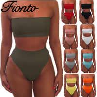 Traje de baño de mujer 2019 verano bikini Micro Bikini mujer traje de baño hombro descubierto traje de baño Bikini sólido Push Up ropa de playa