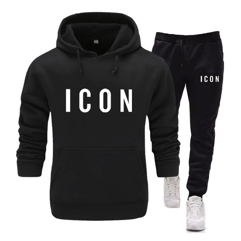 New Brand Icon Set Suit Clothing Men's Pullovers Sweater Cotton Men Tracksuits Hoodie Two Pieces + Pants Sports Sporting Suit