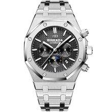 Binkada royal oak grande dial assista masculino totalmente automático relógio mecânico multi função fase da lua aço banda relógio masculino