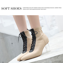 New Women Ankle Boots Lace Up Pointed Toe High Heels Chunky Block Heels Black Apricot Boots Pumps Women Boots BT23 elegant soft pink velvet transparent block heels ankle boots slim fit pointed toe chunky heel back zip short women fashionboots