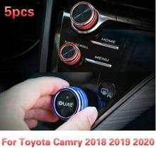 5pcs 센터 노브 에어 컨디셔닝 AC 버튼 + 오디오 + 기능 + 리어 미러 노브 스위치 트림 커버 For Toyota Camry 2018 2019 2020