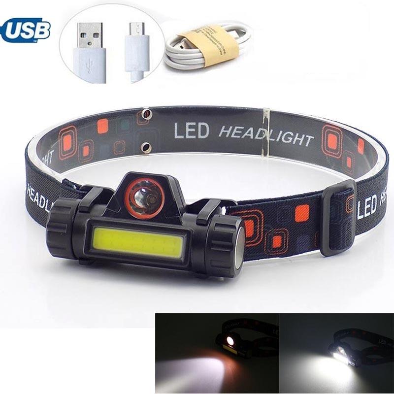 Powerful USB  Rechargeable Headlamp 2 LED COB XPE Battery Q5 Night Fishing Lighting Frontal Flashlight Head Light Lamp Torches
