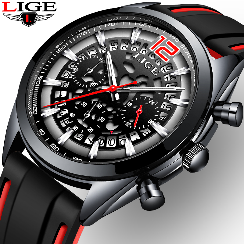 Mens Watches Quartz Special-Design Waterproof Luxury LIGE Dial Multi-Function Hollow