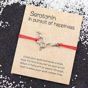 Серотонин браслет желаний молекула серотонина браслеты химическая формула 5-HT Шарм браслет для DNA ювелирные изделия медсестры браслет дружбы