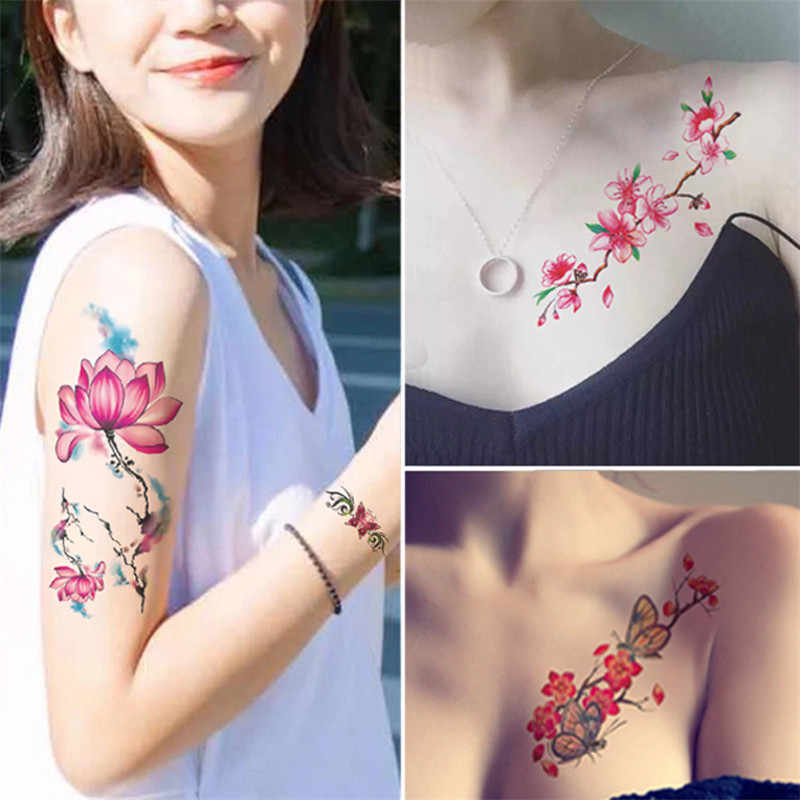 3D Impermeabile Autoadesivo Del Tatuaggio Temporaneo Simpatici Animali Del Fumetto di Fiori Colorati Gli Uomini Del Braccio Del Corpo di Tatuaggi Temporanei Falso Tatuaggi Body Art Tatuaggi