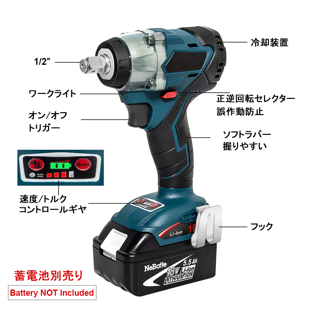 H2e318c8280f04833b57e124daa9535a0V - Abeden Brushless Electric Impact Wrench 18V 350 N.m Cordless Screwdriver Speed Rechargable Drill Driver LED Light for makita