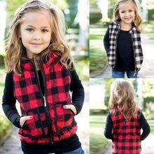 Осенне-зимний осенний свитер для Emmababy девочек, одежда, клетчатая куртка на молнии, жилет, пальто, повседневная верхняя одежда