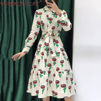VERDEJULIAY Sweet Floral Print Stitching A Line Dresses Women 2020 Spring New Runway Fashion High Quality Cotton Midi Dress