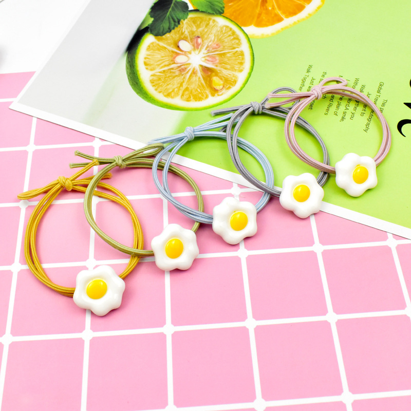 2Pcs set Hair Bands For Girls Poached Egg Polyester Adjustable Colorful Knot Childern Hair Ropes Band For Kids Hair Accessories