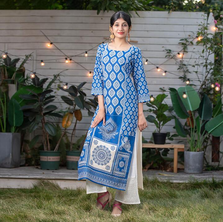 2020 New Style India Fashion Woman Ethnic Styles Kurtas Set Printing Costume Cotton Top Blue Lady Long Top+Pants