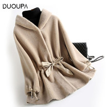 DUOUPA 2019 Autumn And Winter New Female Lamb Hair Fashion Composite Fur One Wool Coat Hooded Drawstring Belt fur Warm