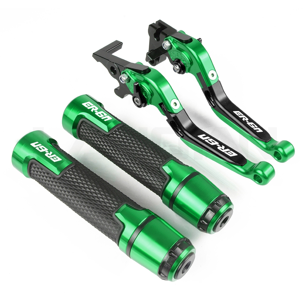 Motorcycle Brake Clutch Lever & 7/8 Handlebar Grips For KAWASAKI ER6N 2009 2010 2011 2012 2013 2014 2015 2016 ER6N Accessories|Levers  Ropes & Cables| |  - title=