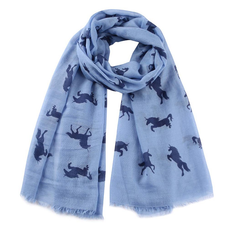 New Fashion Women Unicorn Scarf Shawl Wrap White Horse Animal Printed Scarfs For Ladies Gifts