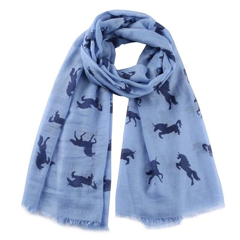 New Fashion Women Unicorn Scarf Shawl Wrap White Horse Animal Printed Scarfs For Ladies Gifts