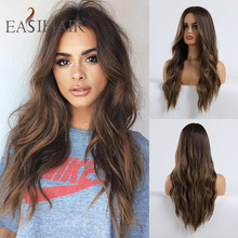 EASIHAIR Long Black to Brown Ombre Wigs Synthetic Wigs For Black/White Women Glueless Wavy Cosplay Wigs Heat Resistant Daily Wig
