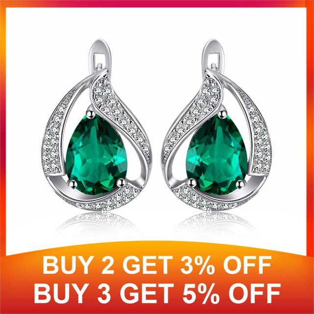 JewelryPalace Charm Water Drop 1.7ct Created Emerald Earrings For Women Solid 925 Sterling Silver Jewelry Nice Jewelry Gift 1