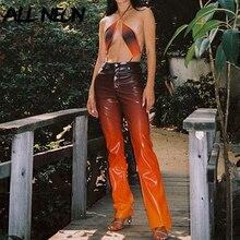 ALLNeon Indie Aesthetics Gradient PU Leather Pants Y2K Fashion Orange High Waist Long Trousers Punk Style Autumn Vintage Pants
