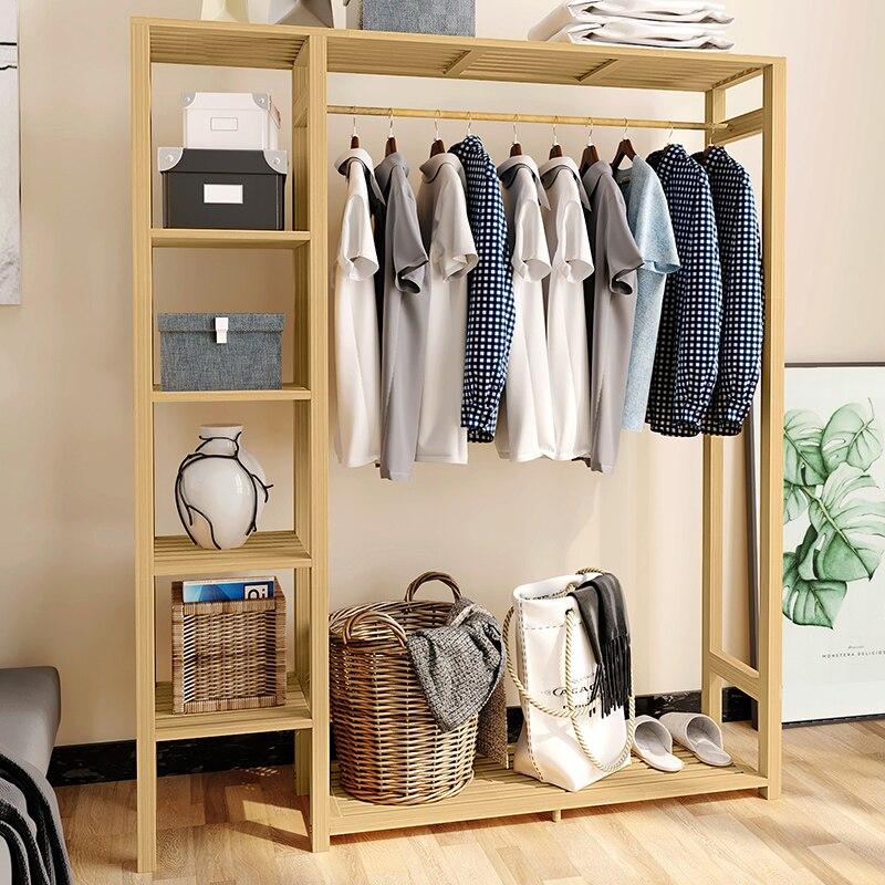 Modern Simple Hanger Wardrobe Floor Type Coat Rack Bedroom Solid Wood Storage Rack Shelf Shelf New Shelf Type