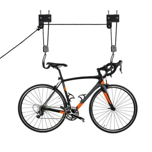 bike bicycle ceiling hanger lift pulley hoist storage stand garage rack roof hanger capacity 30kg